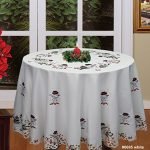 Creative-Linens-Holiday-Embroidered-Snowman-and-Christmas-Tree-Table-Cloth-88-ROUND-with-12-Napkins-White-0