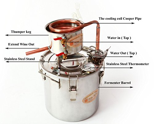DIY-3-Gal-12-Liters-Home-Distiller-Moonshine-Alcohol-Still-Stainless-Boiler-Copper-Thumper-Keg-0-0