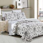 DaDa-Bedding-Collection-Elegant-Victorian-Candelabra-Quilt-Patchwork-Bedspread-Set-Floral-White-Black-2-3-Pieces-0