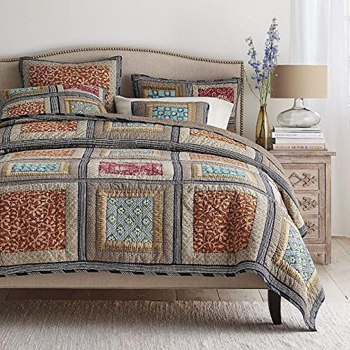 DaDa-Bedding-Collection-Gallery-of-Roses-Floral-Print-Reversible-Real-Patchwork-Bohemian-Global-Cotton-Quilt-Bedspread-Set-2-3-Pieces-0