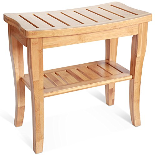 Deluxe-Bamboo-Shower-Seat-Bench-with-Storage-Shelf-0