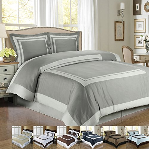 Deluxe-Reversible-Hotel-Duvet-Cover-Set-Elegant-and-Contemporary-Duvet-Set-100-Egyptian-Cotton-300-Thread-Countwoven-with-superior-single-ply-yarn-and-has-ethnic-geometric-print-design-0