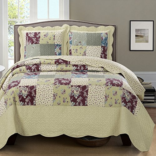 Deluxe-Tania-Oversized-Bedspread-A-classic-yet-modern-wrinkle-free-and-soft-to-the-touch-Coverlet-Purple-and-blue-on-a-cream-colored-background-Bed-Cover-Quilt-3-Pieces-Full-Queen-Set-0