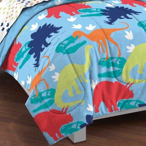 Dream-Factory-Dinosaur-Prints-Boys-Comforter-Set-Multi-Colored-Twin-0-0