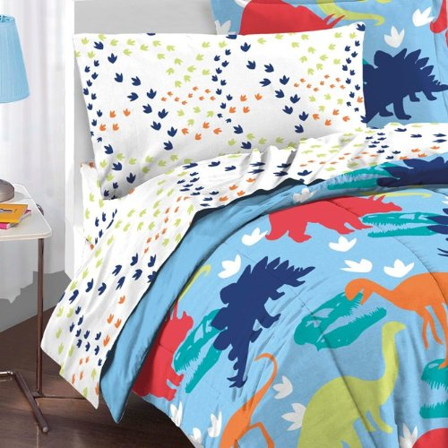 Dream-Factory-Dinosaur-Prints-Boys-Comforter-Set-Multi-Colored-Twin-0-1