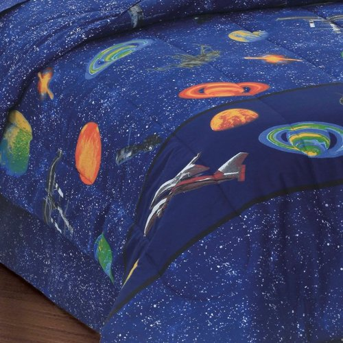 Dream-Factory-Outer-Space-Satellites-Boys-Comforter-Set-Blue-Twin-0-0