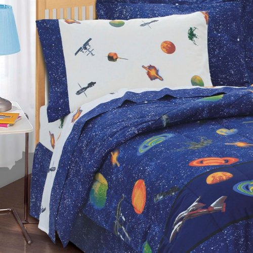 Dream-Factory-Outer-Space-Satellites-Boys-Comforter-Set-Blue-Twin-0-1
