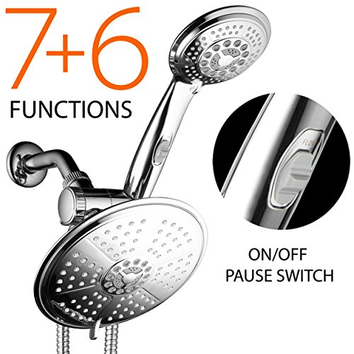 DreamSpa-38-Setting-3-Way-Rainfall-Showerhead-Handheld-Shower-Combo-Includes-7-Inch-6-Setting-Rainfall-Shower-Head-4-Inch-6-Setting-Handshower-with-Patented-ONOFF-Pause-Switch-Water-Diverter-and-Stain-0