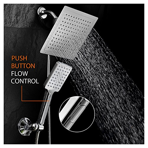 DreamSpa-Ultra-Luxury-9-Rainfall-Shower-Head-Handheld-Combo-Convenient-Push-Button-Flow-Control-Button-for-easy-one-handed-operation-Switch-flow-settings-with-the-same-hand-Premium-Chrome-0