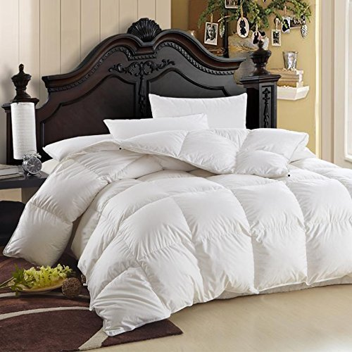 Egyptian-Bedding-600-Thread-Count-Egyptian-Cotton-Siberian-Goose-Down-Comforter-750-Fill-Power-70-Oz-Fill-Weight-King-Size-106-Inch-by-90-Inch-Solid-White-0