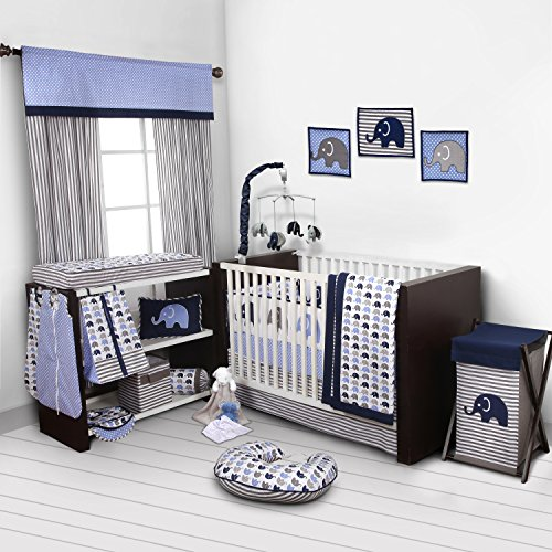 Elephants-BlueGrey-10-pc-crib-set-including-Bumper-Pad-0