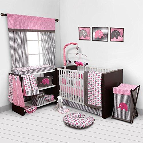 Elephants-PinkGrey-10-pc-crib-set-including-Bumper-Pad-0
