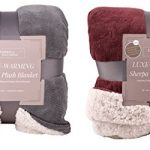 Fabbrica-Home-Reversible-Sherpa-Large-Blanket-with-Faux-Sheep-Fleece-Lining-and-Warmth-Retention-Volcanic-Fiber-in-Red-Gray-FullQueen-King-0