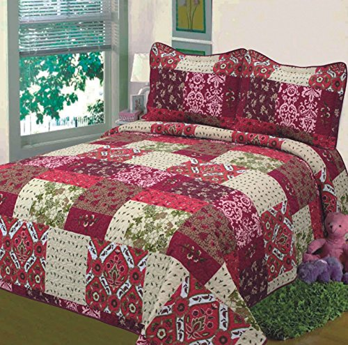 Fancy-Collection-3pc-Bedspread-Bed-Cover-Floral-Beige-Red-Green-Brown-Burgundy-New-0