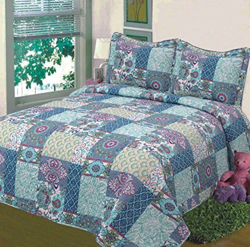 Fancy-Collection-3pc-Bedspread-Bed-Cover-Floral-Blue-Teal-Green-New-0