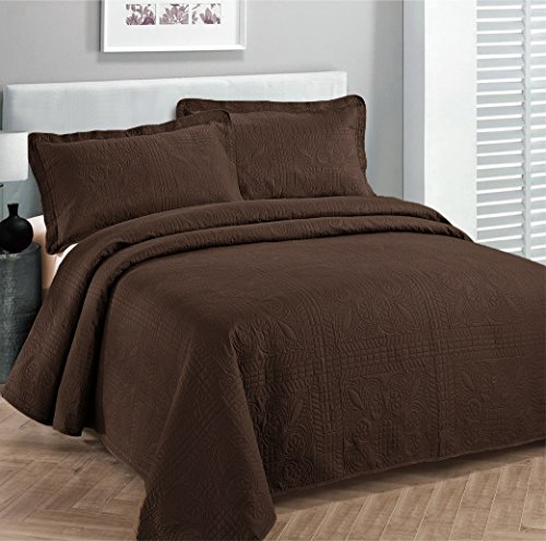 Fancy-Collection-3pc-Luxury-Bedspread-Coverlet-Embossed-Bed-Cover-Solid-Coffeebrown-New-Over-Size-0