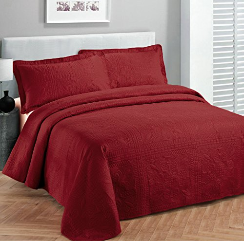 Fancy-Collection-3pc-Luxury-Bedspread-Coverlet-Embossed-Bed-Cover-Solid-Red-New-Over-Size-0