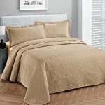 Fancy-Collection-3pc-Luxury-Bedspread-Coverlet-Embossed-Bed-Cover-Solid-Taupe-New-Over-Size-0
