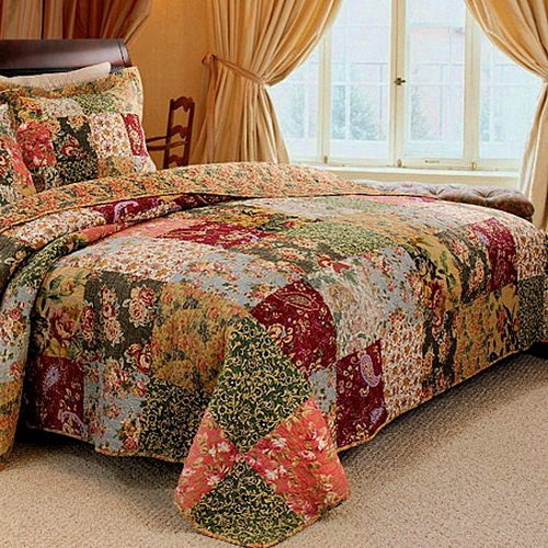 French-Country-Patchwork-Quilted-Bedspread-Set-Oversized-King-to-the-floor-0-0
