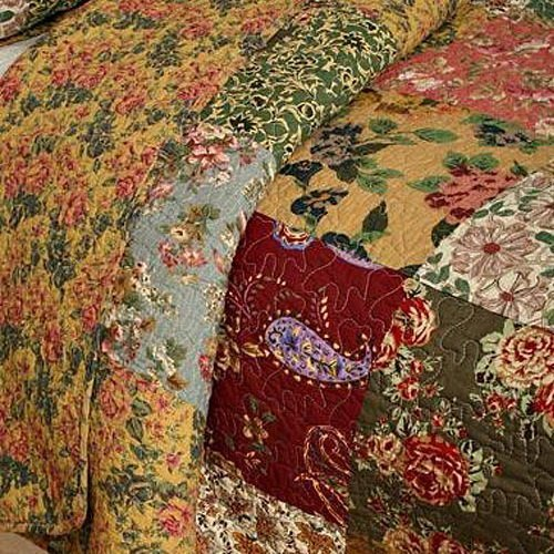 French-Country-Patchwork-Quilted-Bedspread-Set-Oversized-King-to-the-floor-0-1