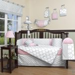 GEENNY-Boutique-Baby-13-Piece-Crib-Bedding-Set-Salmon-PinkGray-Chevron-0