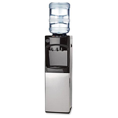 Genuine-Joe-GJO22552-Cabinet-Freestanding-Water-Cooler-Stainless-Steel-185-degrees-F-Heating-to-37-to-50-degrees-F-Cooling-13-Length-x-125-Width-x-394-Height-20-L-Capacity-Black-0