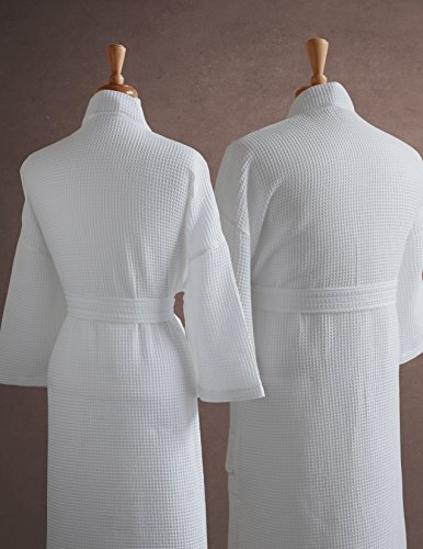 His-Hers-Couples-Waffle-Weave-Bathrobe-Set-100-Egyptian-Cotton-UnisexOne-Size-Fits-Most-Spa-Robe-Luxurious-Soft-Plush-Elegant-Script-Embroidery-Perfect-Wedding-Gift-Luxor-Linens-0-0