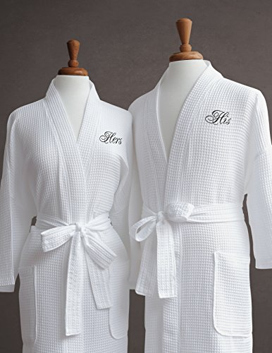 His-Hers-Couples-Waffle-Weave-Bathrobe-Set-100-Egyptian-Cotton-UnisexOne-Size-Fits-Most-Spa-Robe-Luxurious-Soft-Plush-Elegant-Script-Embroidery-Perfect-Wedding-Gift-Luxor-Linens-0