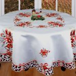Holiday-Christmas-Embroidered-Poinsettia-Candle-Bell-Tablecloth-88-ROUND-12-Napkins-White-0