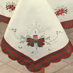 Holiday-Christmas-Embroidered-Poinsettia-Candle-Tablecloth-70×140-12-Napkins-Ivory-0