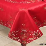 Holiday-Christmas-Embroidered-Poinsettia-Candle-Tablecloth-70×140-12-Napkins-RED-0-0