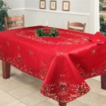 Holiday-Christmas-Embroidered-Poinsettia-Candle-Tablecloth-70×140-12-Napkins-RED-0
