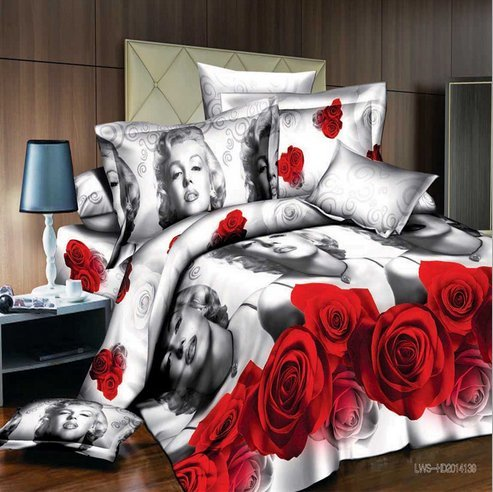 Home-Living-HD-Printing-Upgrade-3D-Bedding-Set-4pcs-Marilyn-Monroe-Bed-Sheet-Pillow-Cases-Duvet-Cover-Twin-Size-0