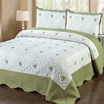 Homemusthaves-3pc-Bedspread-Quilted-High-Quality-Bed-Cover-Sage-Embroidery-Quilt-Cream-0