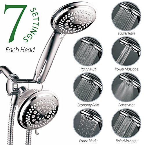 HotelSpa-3-Way-36-Setting-Shower-Head-and-Handheld-Shower-Combo-with-Hose-Chrome-0