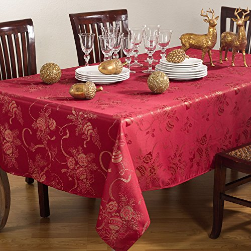 Jacquard-Christmas-Holiday-Printed-Ribbon-Ornament-Table-Runner-Tablecloth-Napkins-Red-or-Ivory-0-0