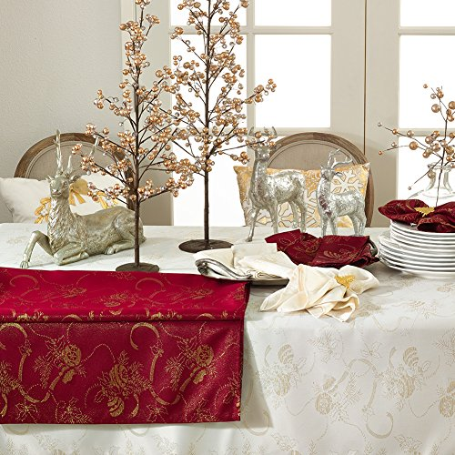 Jacquard-Christmas-Holiday-Printed-Ribbon-Ornament-Table-Runner-Tablecloth-Napkins-Red-or-Ivory-0