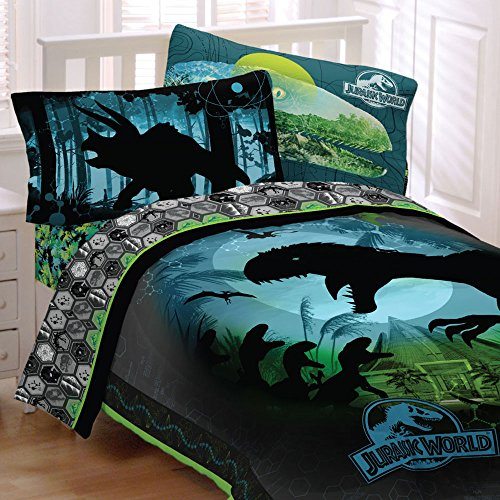 Jurassic-World-Bedding-Set-Biggest-Growl-Dinosaurs-Comforter-and-Sheet-Set-0