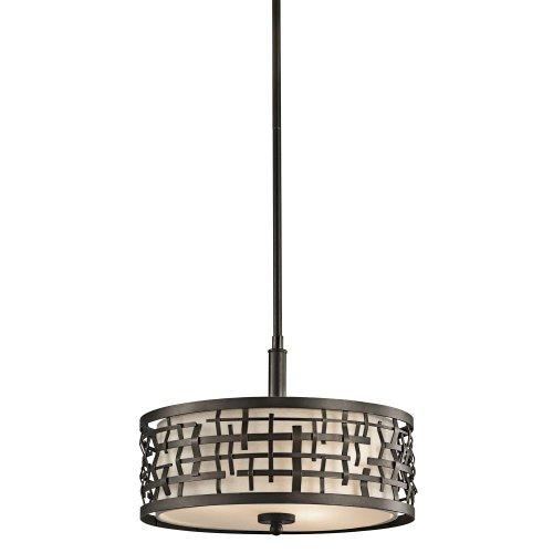 Kichler-Lighting-43049OZ-Loom-3-Light-Convertible-Fixture-Bronze-Finish-with-Satin-Etched-Glass-and-Off-White-Fabric-Shade-0