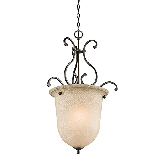 Kichler-Lighting-43229OZ-1-Light-Foyer-Fixture-with-White-ScavoLight-Umber-Glass-Olde-Bronze-Finish-0