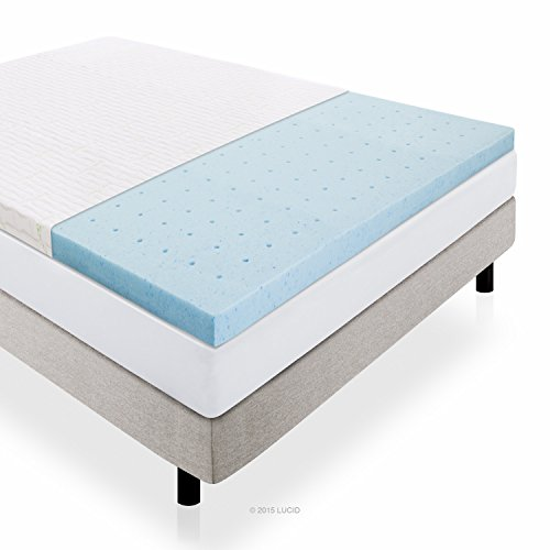 LUCID-25-Inch-Gel-Infused-Ventilated-Memory-Foam-Mattress-Topper-with-Removable-Bamboo-Cover-3-Year-Warranty-0