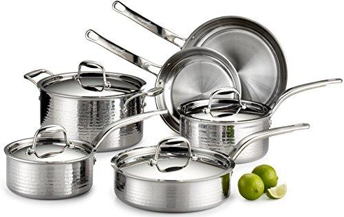 Lagostina-Q553SA64-Martellata-Tri-ply-Hammered-Stainless-Steel-Dishwasher-Safe-Oven-Safe-Cookware-Set-0