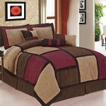 Legacy-Decor-7-piece-Burgundy-Brown-Beige-Micro-Suede-Patchwork-Comforter-Set-Machine-Washable-Bed-in-a-Bag-0