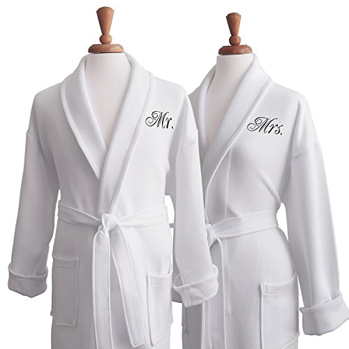 Luxor-Linens-100-Organic-Cotton-Mr-Mrs-Medium-Weight-Spa-Robe-Perfect-Wedding-Gifts-0