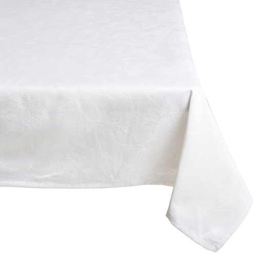 Mahogany-T424T120-Gardenia-Jacquard-Rectangle-Tablecloth-60-by-120-Inch-White-0