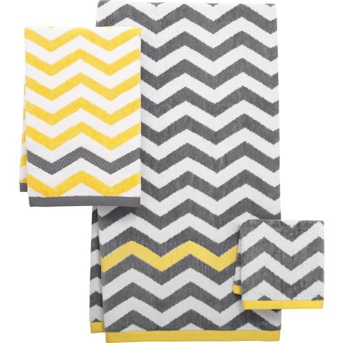 Mainstays-Chevron-Decorative-Bath-Collection-Yellow-White-and-Gray-3-Piece-Set-Bath-Towel-Hand-Towel-and-Wash-Cloth-0