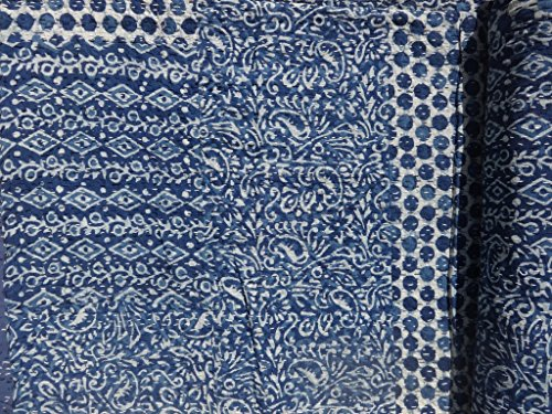 Marubhumi-Hand-Block-Printed-Kantha-Quilt-Queen-Size-Patchwork-Cotton-Bedspread-Blue-0