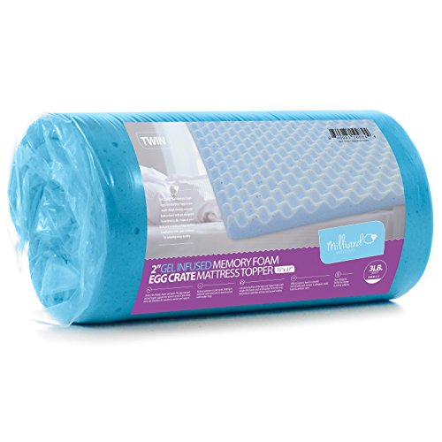 Milliard-2in-Egg-Crate-Memory-Foam-Mattress-Topper-Use-As-a-Pressure-Relief-Mattress-Pad-Can-Improve-Circulation-and-Reduce-Bed-Sores-Gel-Infusion-Helps-Disperse-Body-Heat-0