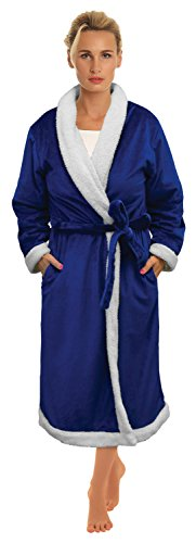 Napa-Womens-Super-Soft-Warm-Sherpa-Bathrobe-Micro-Fleece-Kimono-Collar-Plush-Thick-Spa-Robe-Sleepwear-with-Side-Pockets-0-0