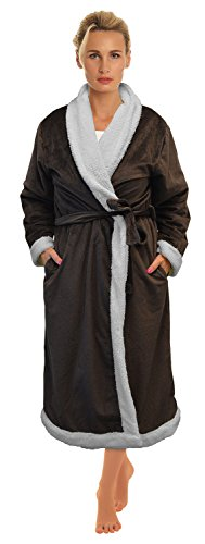 Napa-Womens-Super-Soft-Warm-Sherpa-Bathrobe-Micro-Fleece-Kimono-Collar-Plush-Thick-Spa-Robe-Sleepwear-with-Side-Pockets-0-1